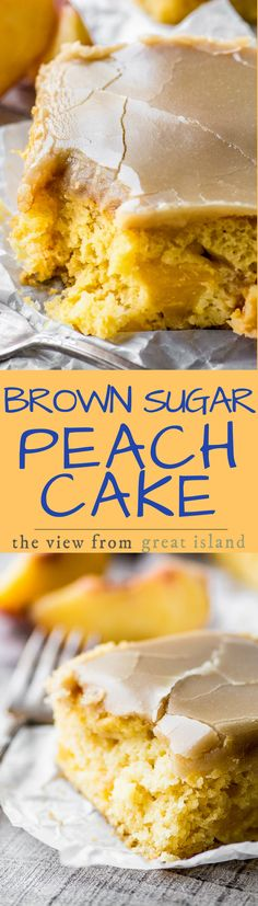 Brown Sugar Peach Cake ~ I can't think of another cake that deserves to be crowned 'cake of the summer' more than this luscious little snack cake. I mean, perfect yellow cake loaded with fresh peaches, and topped with a brown sugar caramel icing? It's a no-brainer. | summer | dessert | cake mix | Sheet cake |