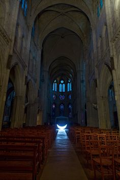 Private Moon Journey to Paris --  Moon in the cathedral --  On Christmas Eve the moon has found shelter at the Virgin Mary's feet
