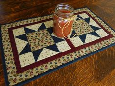 Quilted Table Runner Star Pattern/Small Quilt in colors of ivory, dark blue, red and gold by RubysQuiltShop on Etsy