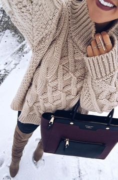 #Winter #Outfits / Cableknit Sweater + OTK Boots