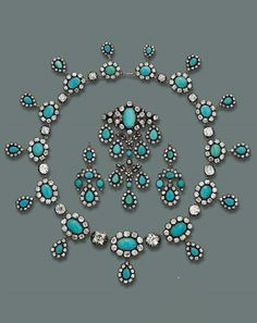 A FINE ANTIQUE TURQUOISE AND DIAMOND PARURE. Consisting of a necklace designed as a series of graduated oval turquoise and old-cut diamond clusters, each suspending a similar drop to the diamond collet spacers, the six main diamonds can be unscrewed; a pair of bracelets with detachable clasps, can be worn as a choker; a pendant brooch and two pendants en suite, mounted in silver and gold, circa 1830.
