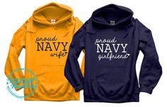 Custom Proud Navy Sweatshirt Military Wife by MilitaryHeartTees