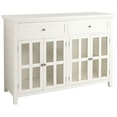 A handsome addition to our Ronan collection, this traditional buffet boasts classic good looks, self-leveling feet, four tempered glass-paned doors with two adjustable interior shelves and two deep drawers. Perfect for displaying dinnerware, as well as storing flatware and serving pieces. Pair with our Large Ronan Hutch (sold separately) for extra storage space.
