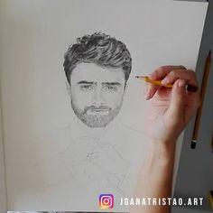 Daniel Radcliffe 2017, Harry Potter Portraits, Paper Texture, Original Artwork, Art Drawings, Art Pieces, Pencil, Fan Art, The Originals
