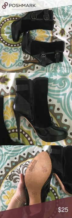 Victoria Secret black boots Black Charles David buckle zippered boots. Worn once...VS boots run small! Charles David Shoes Heeled Boots