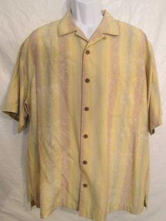 Men's Tommy Bahama Hawaiian Short Sleeve Shirt Copyrighted Print 100% Silk LG #TommyBahama #Hawaiian