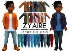 The sims 4 zyaire jacket & jeans by onyxsims Toddler Cc Sims 4, Sims 4 Toddler Clothes, Sims 4 Cc Kids Clothing, Sims 4 Teen, Sims Four, Sims 4 Mm Cc, Toddler Boy Outfits, Kids Outfits, Maxis