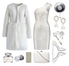"""""""White and Silver"""" by aljux ❤ liked on Polyvore featuring Hervé Léger, Yves Saint Laurent, Chicwish, Dorothy Perkins, Case-Mate, Alexander McQueen, Gucci and Dolce&Gabbana"""