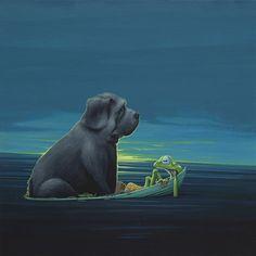 Zwarte hond / Black dog - 60 x 60 cm - acrylverf op doek / acrylic on canvas - 2014 - € 2.200,-