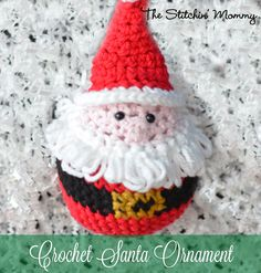 Free pattern for this crochet santa ornament is a cute way to include crochet into your Christmas decor.