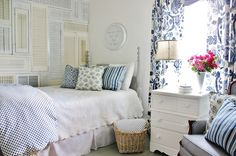 Love the DIY shutter wall from @Thistlewood Farm! Room makeover is beautiful!