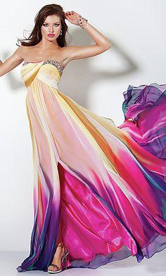 Chiffon colorful dress  #fashion #dress  www.fashionlabel.com