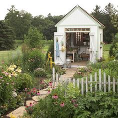 A Gallery of Garden Shed Ideas-An attention-grabbing garden shed does more than declutter your garden. It can create a comfortable work space, provide a backdrop for prized plants, or deliver a destination where you can relax and entertain friends. Cottage Garden Sheds, Home And Garden, Farmhouse Garden, Vintage Farmhouse, Summer Garden, Garden Shed Interiors, Family Garden, Garden Art, Shed Design