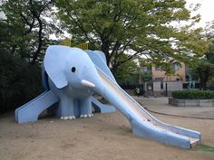 A unusal triple elephant slide in Toyonaka City, Osaka Japan Playground Slide, Playground Design, Play Fort, Elephant Love, Elephant Stuff, Elephant Sculpture, Most Beautiful Gardens, Exhibition Space, Toys Shop