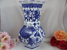 Chinese Blue and White Tall Porcelain Vase  by SecondWindShop, $25.00