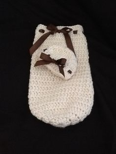 Newborn baby cocoon with hat. Great for photo prop by: polkadotandlollipops@etsy.com