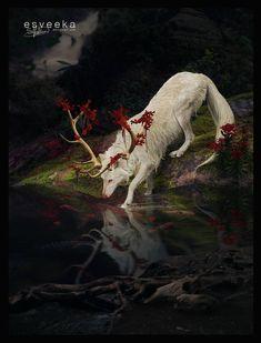 Dirty Paws by Esveeka.deviantar… on Dirty paws of Esveeka. Mystical Animals, Mythical Creatures Art, Mythological Creatures, Magical Creatures, Forest Creatures, Fantasy Wolf, Fantasy Beasts, Dark Fantasy Art, Fantasy Artwork