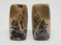 48 x 20 mm Agata dendritica. Agate gemstone cabochon. Set for earrings. Set cabochon. Earrings cabochon di HELGASHOP su Etsy