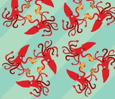 The giant squid eats subs fabric by mockturtle on Spoonflower - custom fabric Giant Squid, Yellow Submarine, W 6, Surface Design, Custom Fabric, Spoonflower, Craft Projects, Quilts, Fabrics