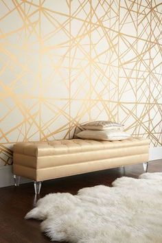 Sasha Bench by Haute House at Horchow. Love the accent wall Deco Ethnic Chic, Boho Chic, Modern Bohemian, Beige Wallpaper, Bedroom Wallpaper, Wallpaper Ideas, Wall Wallpaper, Copper Wallpaper, Modern Wallpaper
