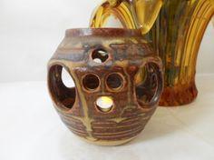 Tealight Candle Holder Stoneware Pierced Unsigned Decorative Vintage Interiors