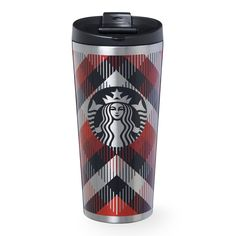 An insulating stainless steel tumbler with classic plaid pattern design, part of the Starbucks Dot Collection.