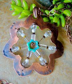 COPPER WEAVE Flower Statement Necklace