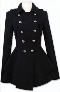 Black Military Double Skirt Hem Woolen Coat pictures