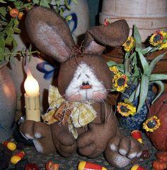 "Primitive Raggedy Brown Bunny Rabbit 8"" Doll Bear ★ Vtg Patti's Ratties Ornie"
