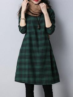 Women A-line Going out Long Sleeve Cotton Pockets Checkered/Plaid Dress Long Shirt Dress, Dress Clothes For Women, Indian Designer Outfits, Vestido Casual, Frack, Mode Hijab, Plaid Dress, Linen Dresses, Types Of Sleeves