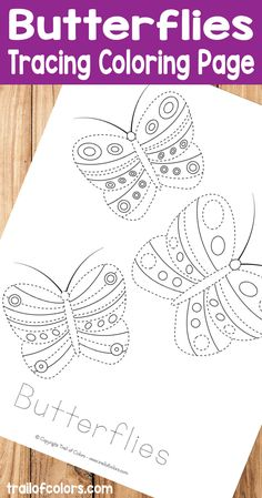 Free printable butterflies tracing coloring page is perfect for practicing pre writing skills and fine motor skills for kids.