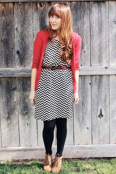 red cardi + B dress + black tights + brown booties