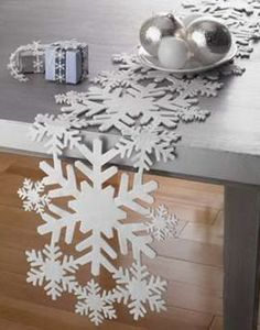 Snowflakes are so winter-like and bring the holiday mood in! They are ideal not only for winter holidays but also for winter time itself. Make some winter Classy Christmas, Beautiful Christmas, Christmas Home, Christmas Holidays, Christmas Crafts, Christmas Placemats, Snowflake Decorations, Christmas Decorations, Holiday Decor