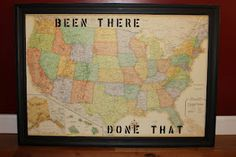 """A fun gift for the """"traveler"""". It is very simple and inexpensive to make. @caroline k. k. Brewer ~ your hubby just told me he wants a map to pin everywhere he's traveling. How great would this be?! Wanna do it together?!!!"""