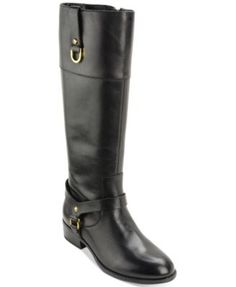 Lauren Ralph Lauren brings classic riding boot style to your wardrobe in the harness and strap details on these Mesa riding boots.   Leather upper; manmade sole   Imported   Round closed-toe riding bo