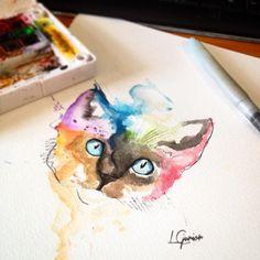 Resultado de imagem para gatos em aquarela