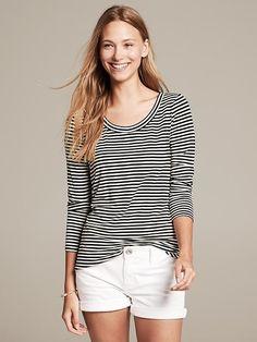 Banana Republic Mini-Stripe Long-Sleeve Tee on shopstyle.com