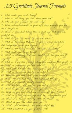 25 gratitude journal prompts with questions and ideas to help make journal writing easy. Free PDF bookmark printable to keep the list handy in your journal.