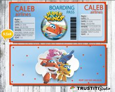 SUPER WINGS Invitation, Boarding Pass Invitation, Super Wings Birthday Party, Super Wings Party, Printable Airplane ticket,  Anniversarie by TRUSTITI on Etsy