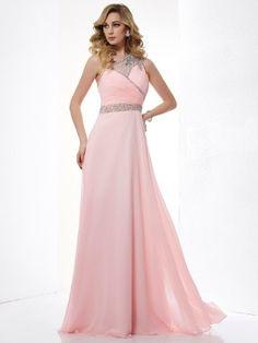 A-Line/Princess One-Shoulder Sleeveless Beading Chiffon Floor-Length Dresses