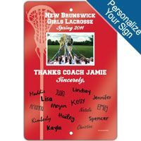 """Create a lacrosse theme in any room with this 18"""" X 12"""" aluminum room sign. We can personalize this sign with your lacrosse coachs information! A great gift for an avid lacrosse coach, fan, or coach!"""
