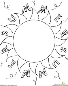 Summer Preschool Nature Worksheets: Color the Summer Sun Sun Coloring Pages, Preschool Coloring Pages, Coloring For Kids, Coloring Worksheets, Sun Crafts, Kids Crafts, Paper Crafts, Summer Worksheets, Preschool Worksheets