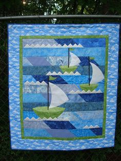 Sailboat Quilt by Jackiesewingstudio on Etsy, $85.00
