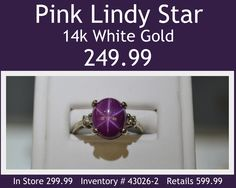 Pink Lindy Star White Gold Ring for 249.99. In store 299.99. Please call for payment & shipping options or come in and see Tiffany