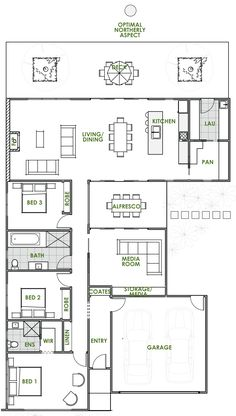 Are you looking for the latest in eco house design? An Iris energy efficient house plan from Green Homes Australia is exactly what you& looking for. Small Modern House Plans, Modern Floor Plans, Farmhouse Floor Plans, Home Design Floor Plans, Modern House Design, Open Floor House Plans, Porch House Plans, 4 Bedroom House Plans, House Plans Australia