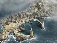 Treyarch ports But I imagine them much bigger Treyarch is the second biggest of all six kingdoms Fantasy city Fantasy town Fantasy landscape