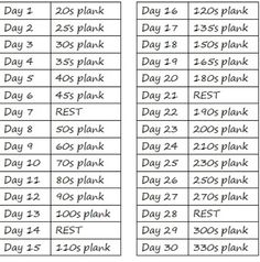 30 day abs challenge---If you can't do sit ups, try planks.