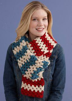 Add to your collection of Americana with this simple red, white, and blue scarf. Scarf is crocheted with Lion Brand's new yarn, Heartland - made in America!
