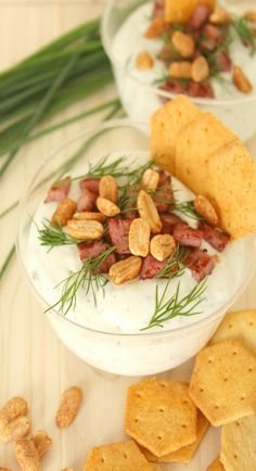 This blue cheese bacon dip appetizer is ideal for entertaining! Make it cold or warm, baked in individual cups and serve with fresh grapes or spicy crackers. Appetizer Dips, Yummy Appetizers, Appetizers For Party, Appetizer Recipes, Snack Recipes, Delicious Recipes, Bacon Recipes, Amazing Recipes, Casserole Recipes