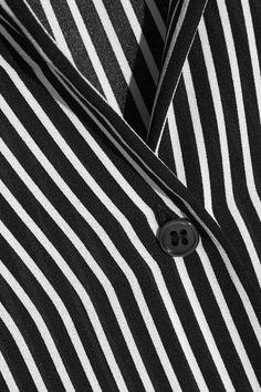 Michael Kors Collection - Poplin-trimmed Striped Silk Crepe De Chine Shirt - Navy - US10